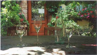 Wine Glasses on Stone Table