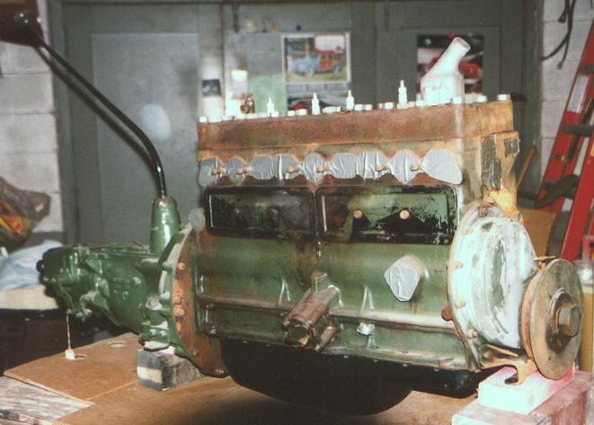 Engine ready for paint.  Note: oil pan is engine color, not black as it looks in this pic.