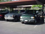 88 Toyota and 01 green truck club at work