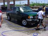 the green truck gets a bath