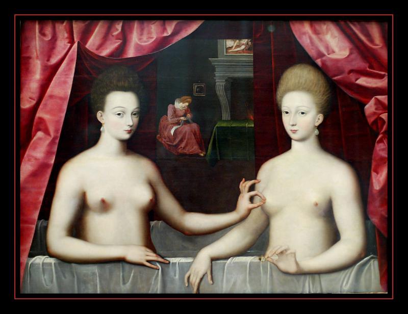 Portrait de Gabrielle d Estrées et dune de ses soeurs (1594) Anonyme
