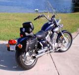 XV535 WITH HOMEMADE BACKREST, CONVERTED INDIVIDUAL SADDLE BAGS FROM THROW-OVERS  AND TURN SIGNAL RELOCATION BRACKETS
