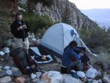 Split Mountain: Setting up the round campsite.
