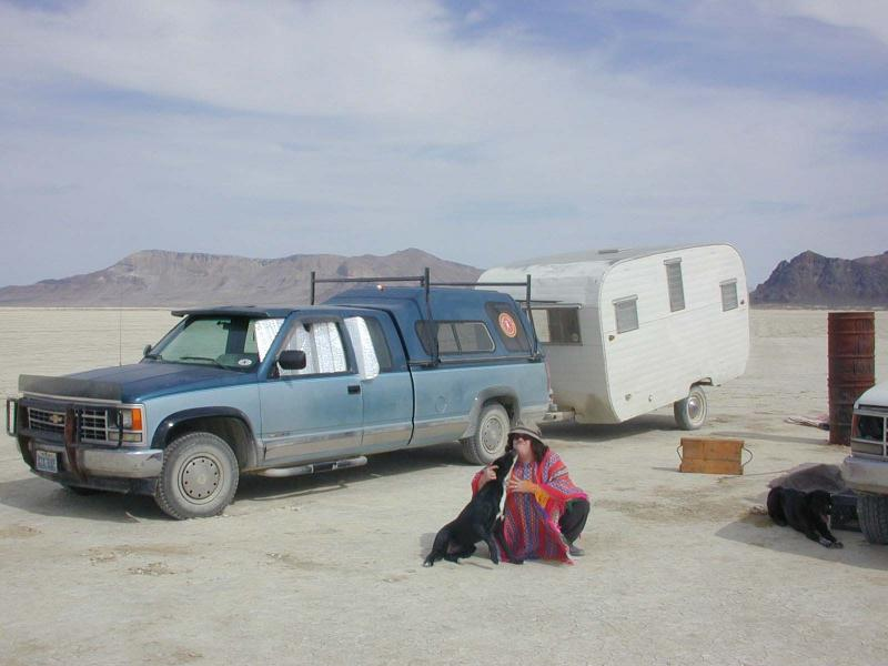 Me and Sage, with Aloha Travel Trailer Carman Grace, and Truck Blue.