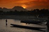 Sunset over VangVieng, Laos