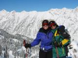 Happy skiers, great view