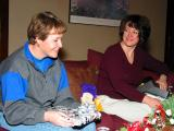 Steph and Carol opening presents
