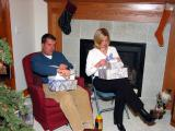 Greg and Rachel opening their presents