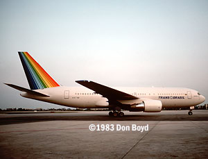 1983 - Trans Brasil B767-2Q4 N4574M (later PT-TAA) on delivery flight - aviation airline stock photo #SA8302