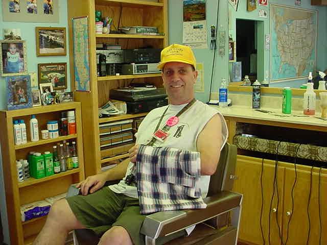 hair cut at <br> Bills barber shop
