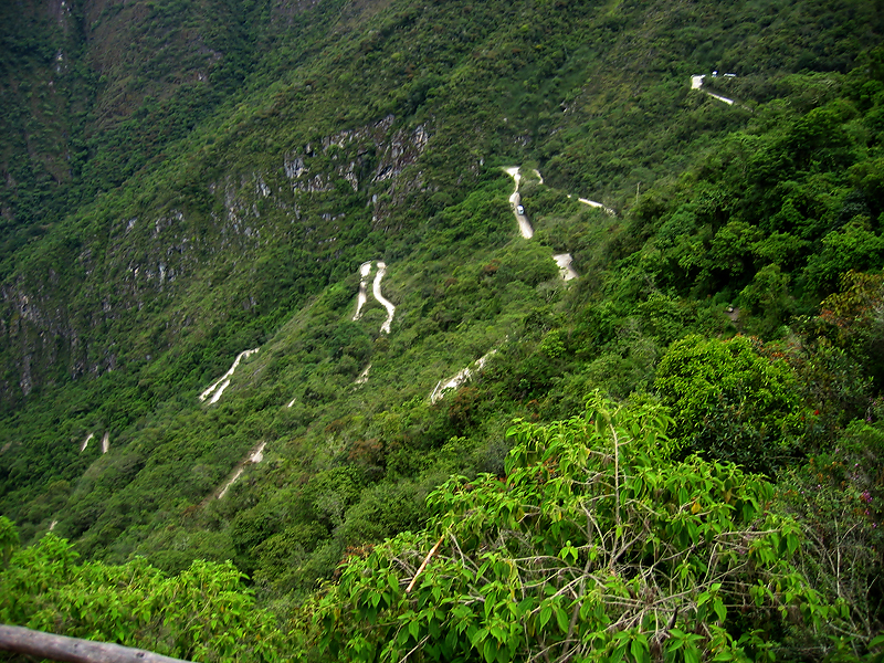 You can take a bus the rest of the way on these switchback roads