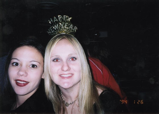 Tarina and Lindsy on New years eve 2003.