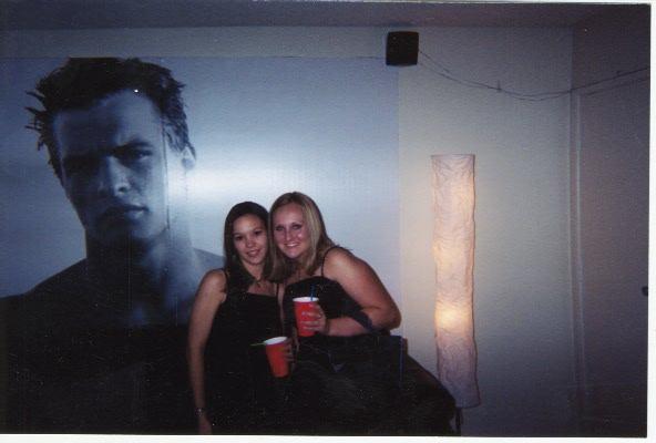 Tarina and Lindsy getting ready for the Chilis Xmas Party 2001.