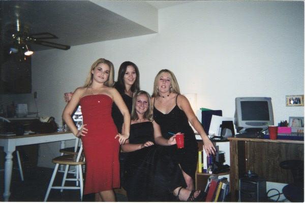 Heather, Tarina, Lindsy and Ashlee before the Chilis Xmas Party 2001.