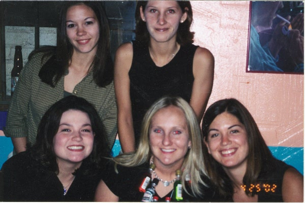 Tarina, and a few <br>of our friends <br>at my 21st bday <br>April 26th 2002.