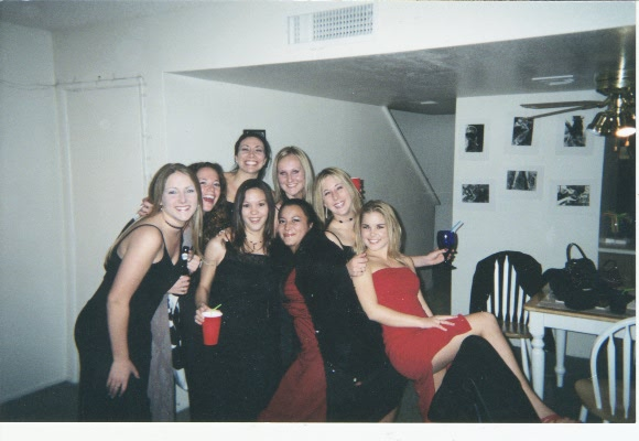Tarina and friends from Chilis before the Chilis Xmas party 2001.