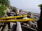 port hardy kayak- camping between driftwood at orca beach