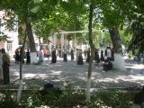school yard practizing uzbek dance