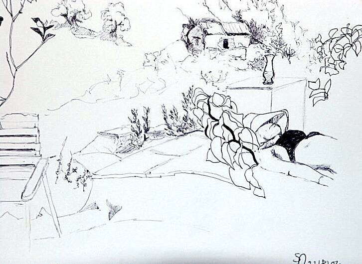 Pen and ink of Ruth relaxing!