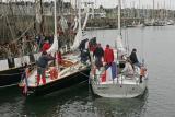 Pen Duick II et Pen Duick V à quai au port du Crouesty