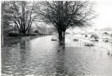 High tide on road at Richmond Lock