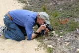 Erik photographing a butterfly