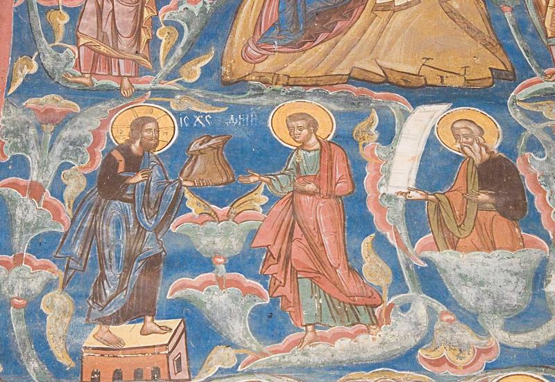 Jesus is handing a bag