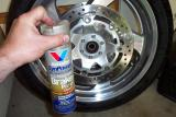Here I use brake cleaner to clean the rotors