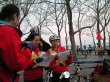 Marshal Captains Stacey Lieberman and Trudy Hutter reviewing the plan before riding to post with the Start Line A Marshal Team.