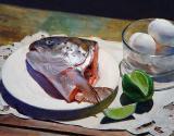 20. Salmon and lime. 15 x 18 3/4