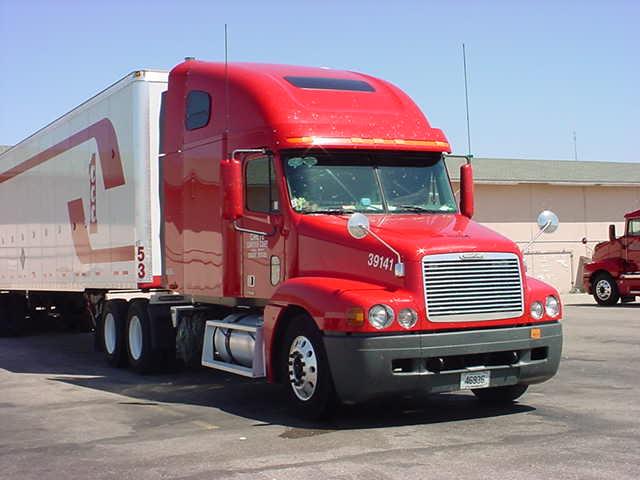 beautiful long red truck
