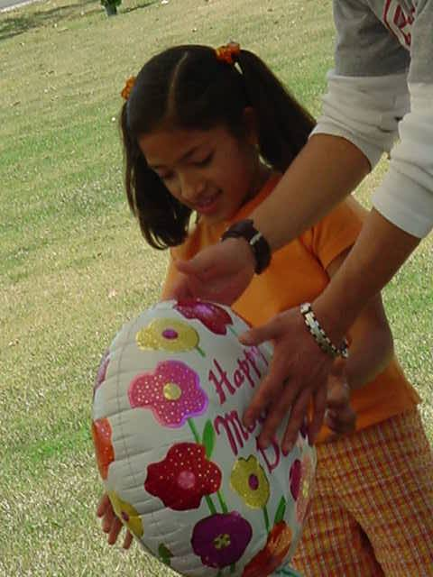 a balloon on mothers day for neighbor Nita
