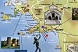 Map: Amalfi Coast (X), Circles: Amalfi (red), Capri (black), Naples (purple), Paestum (orange), Positano (green), Ravello (blue)