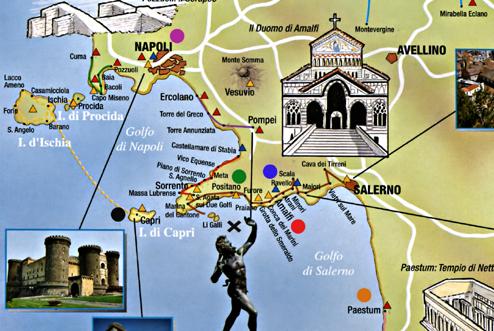 Map Amalfi Coast X Circles Amalfi Red Capri Black
