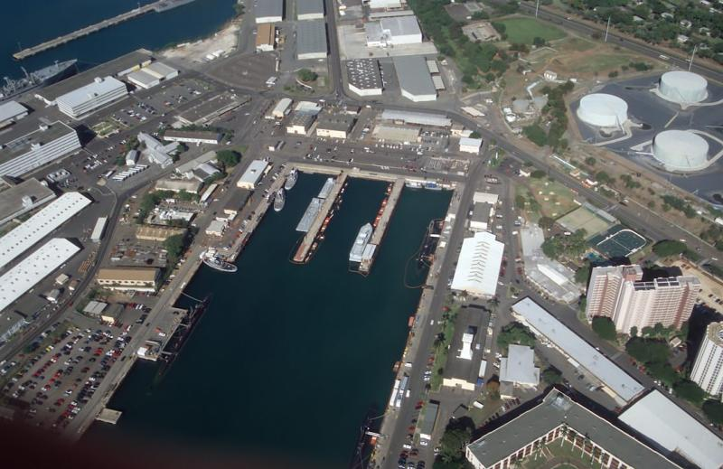 53-Puuloa (Pearl Harbor) East Loch, with 3 submarines