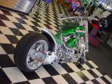 beautiful custom green motorcycle