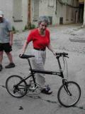 5 Boro Bicycle Club rider Susan Levine returns from her test hop....
