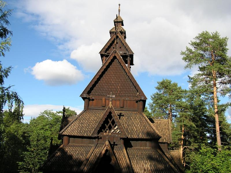 Stave Church from 1100s rebuilt at the Norwegian Heritage Museum