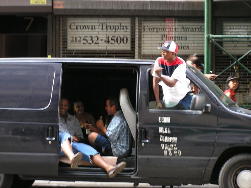 NYC - Guy selling rides uptown in his flower delivery van