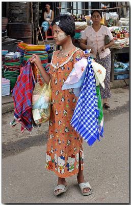 Colorful cloth - Hledan Market, Yangon