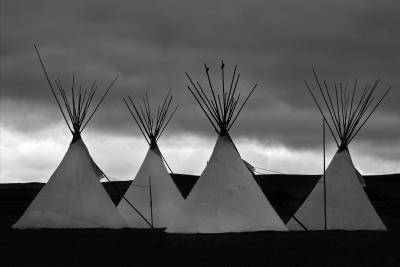 Native American Settlement - B&W
