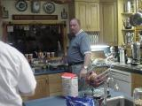 Barry Hill, of Pizza Inn, Texas, making breakfast  at Stonewall