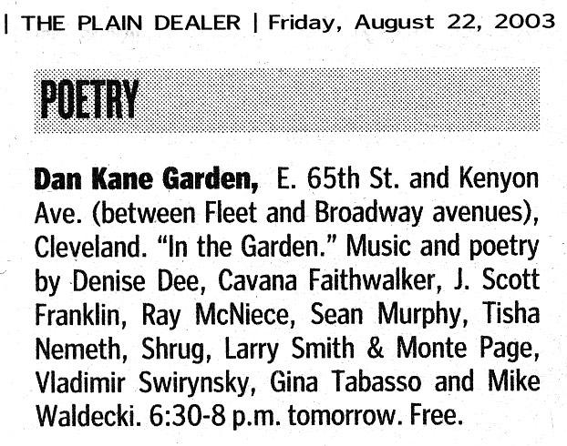 listing in Plain Dealer Friday! section