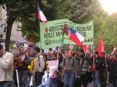 Peaceful protesters in Frankfurt