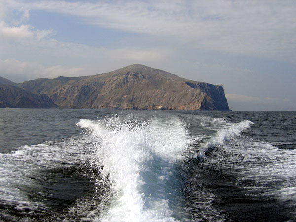 The dive sites in the Strait of Hormuz are about 50 minutes by boat from Khasab