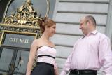 Laura and Aaron: commuter style at the steps of the City