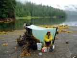 misty fiords tarp life in alaska in the rain