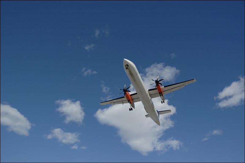 plane against those white fluffy things...