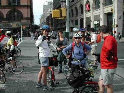 Ride leader Hannah Borgeson waves Hello