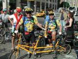 The perfectly-attired Pino's and their mango, Bike Friday Tandem